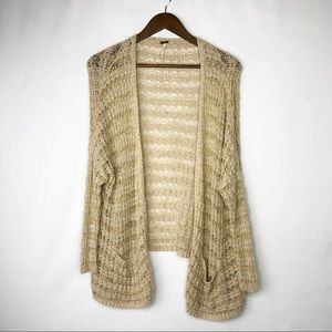 FREE PEOPLE Tan Open Cardigan with Front P…